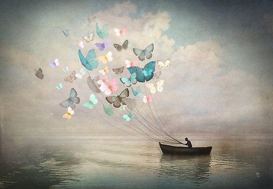 Mis mariposas tmbn te quieren y me guían hacia ti en sueño y en realidad. L.C. 'The Quest' , made by: Christian Schloe - (Butterflies with strings)