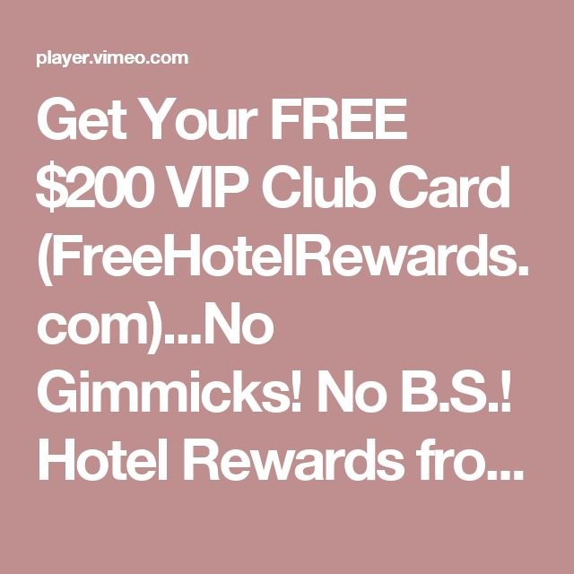 Get Your FREE $200 VIP Club Card (FreeHotelRewards.com)...No Gimmicks! No B.S.! Hotel Rewards from Charles Dunbar on Vimeo