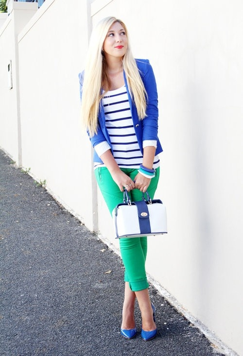 Kelly green jeans with striped shirt and royal blue blazer green skirt? black even
