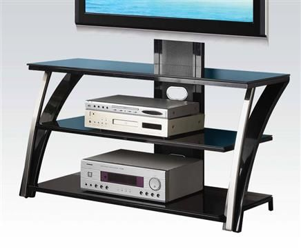 Tamori black glass tv stand w adjustable mount tv stands for Stand 2 b