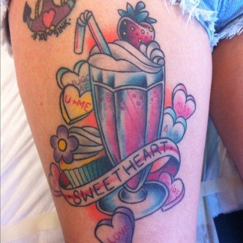 sweet heart, milkshake/cupcake/candy tattoo | Tattoos ...