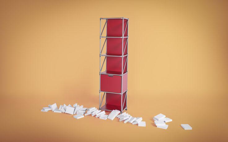 Das modulare Bücherregal aus Edelstahl und MDF-Platten lässt sich in Form, Farbe und Größe individuell konfigurieren und anpassen.
