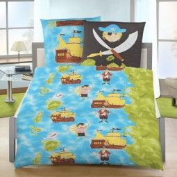 Kinder Fein Biber Bettwäsche Blau Pirat