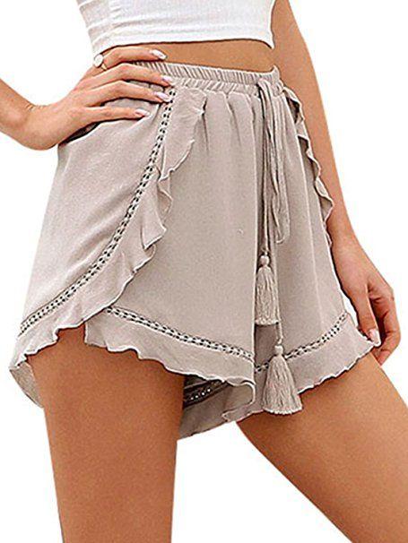 dc27aa3ba395a0 Terryfy Damen Kurz Hose Sommer Elegant Lässig High Waist mit Quasten- Tunnelzug Beach Shorts: