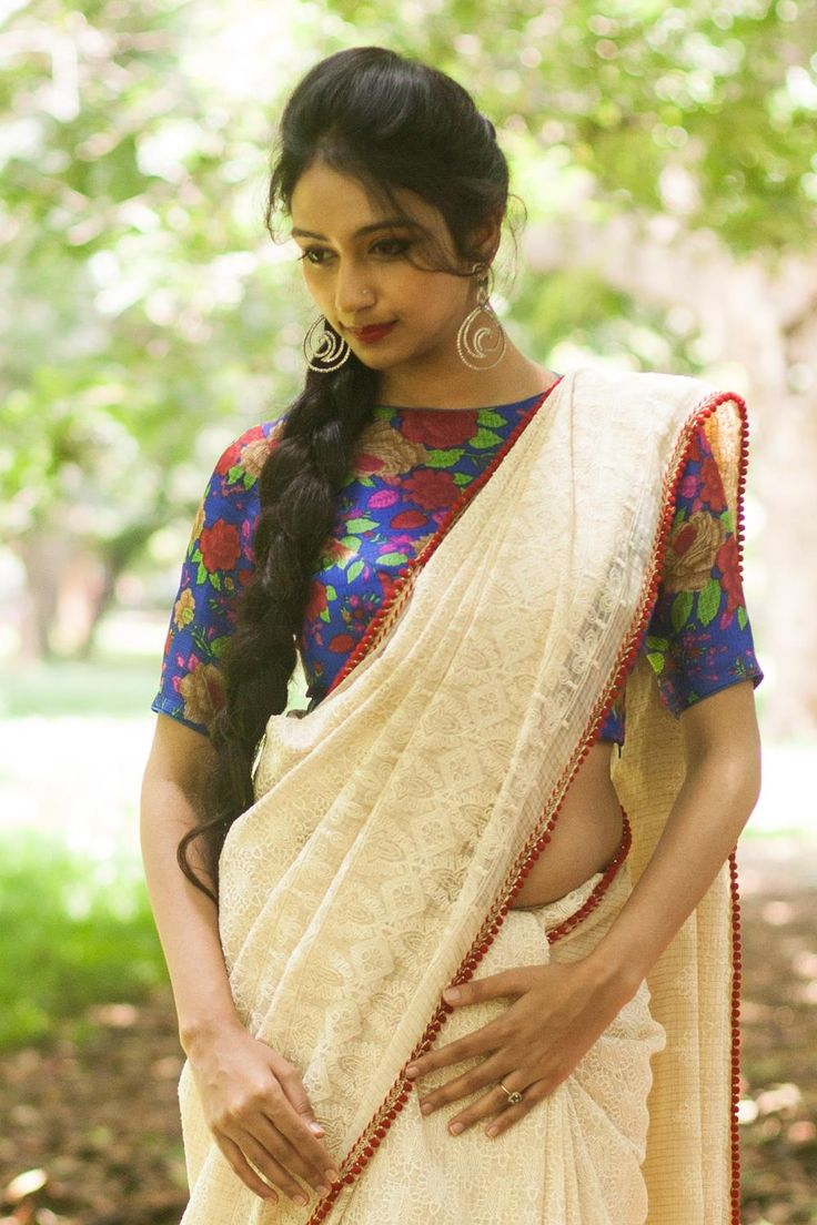 Romantic Ivory Lace Saree with Floral Blouse