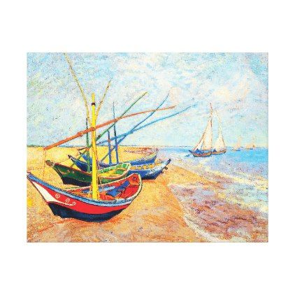Fishing Boats on the Beach at Saintes-Maries Canvas Print  $172.15  by iwheels  - cyo diy customize personalize unique