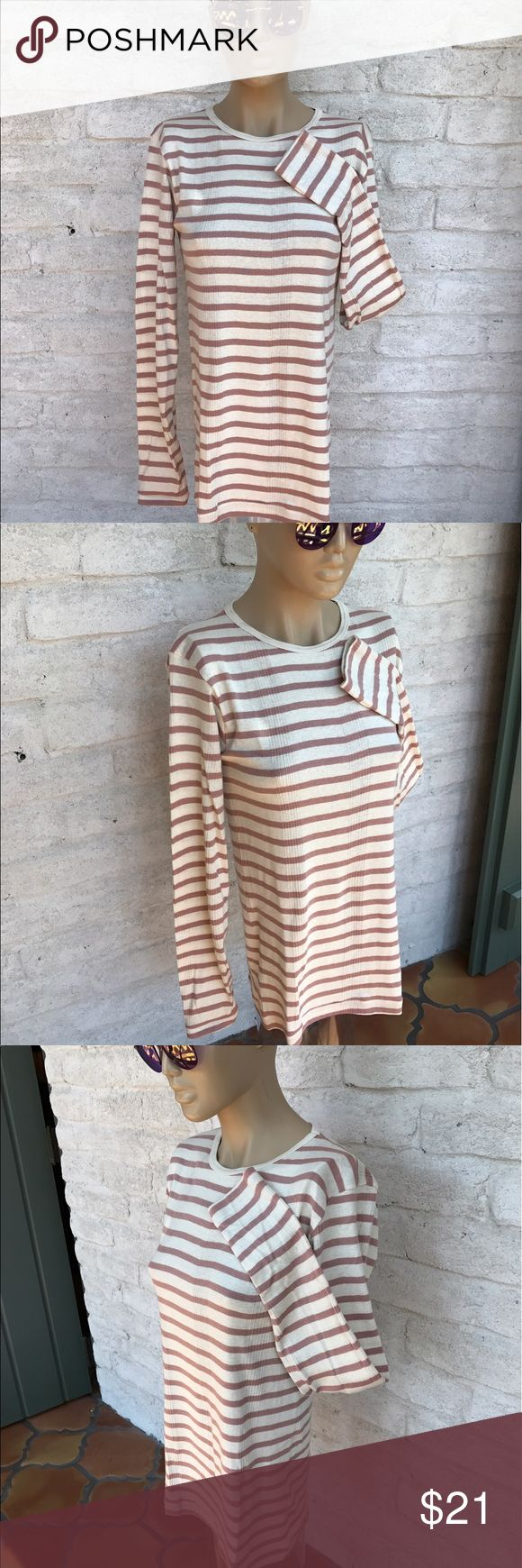 Edith A Miller Mauve & Cream Long Sleeve Top, NWOT Comfortable Edith A Miller 100% cotton long sleeved top. Size Large.  NWOT Edith A Miller Tops