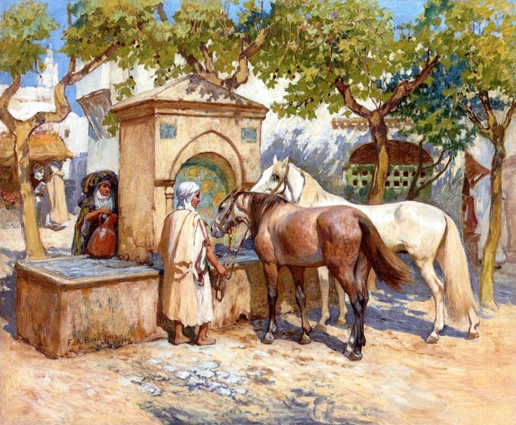 Frederick Arthur Bridgman - Horses Watering, Tunis