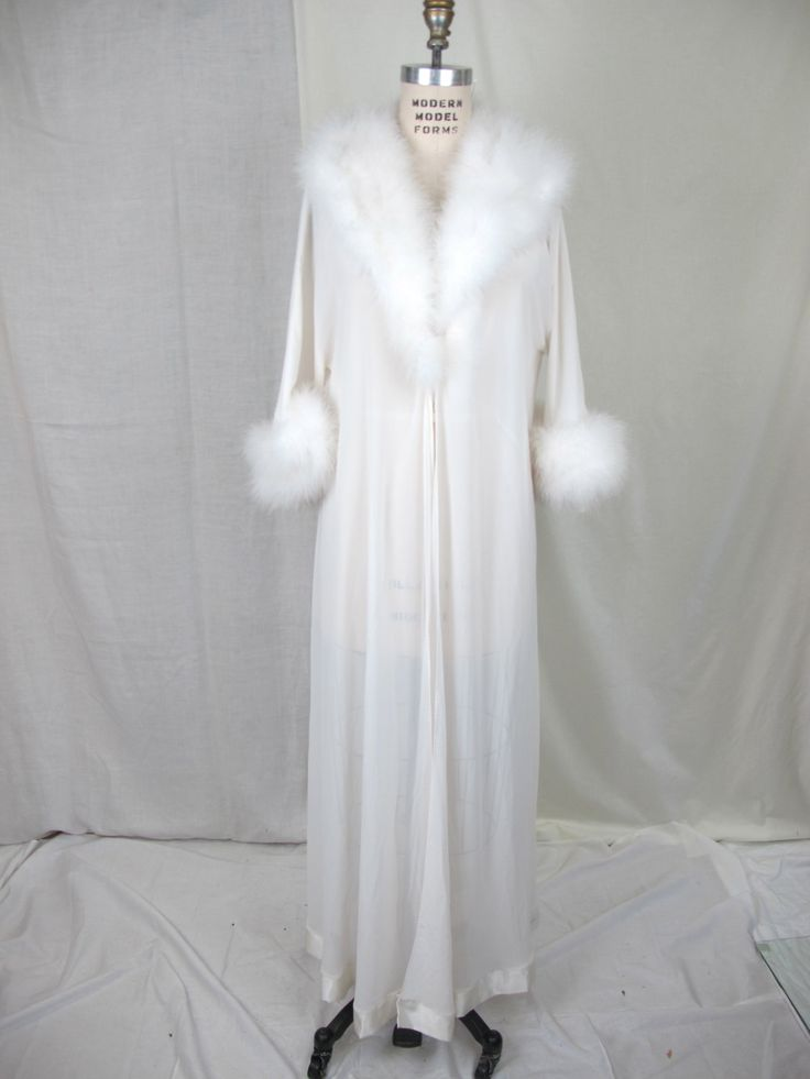 FOR THE HONEYMOON   1950s 60s  White Marabou Feather and Chiffon Robe. $125.00, via Etsy.