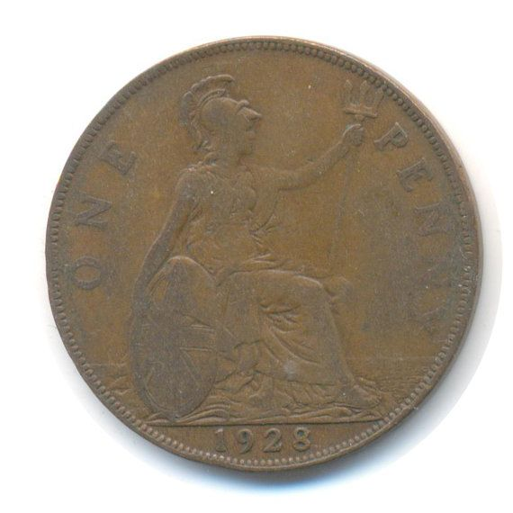 George V One Penny 1928 Coin Code: RSC2208 by COINSnCARDS on Etsy