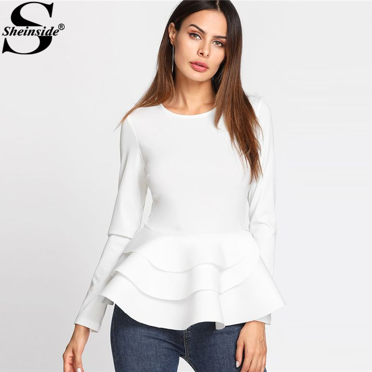 Long Sleeve Tees For Women With Ruffles
