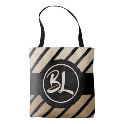 Black Striped Beige Customizable Monogram Tote Bag - monogram gifts unique custom diy personalize