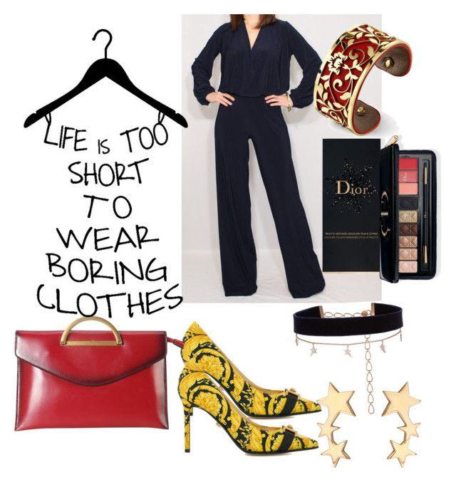Jazzed up work wardrobe by styles-bykim on Polyvore featuring polyvore fashion style Versace Diophy Diane Kordas Belk Silverworks Estée Lauder clothing