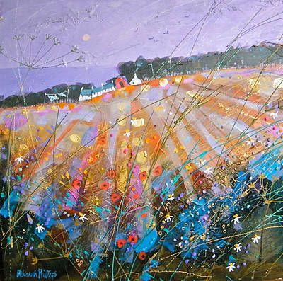 Scottish Artist Deborah PHILLIPS-Autumn Glow near Coldingham