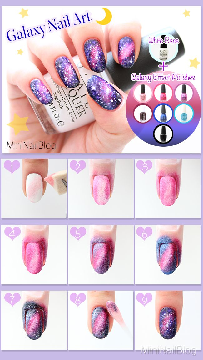 Galaxy Nail Art Tutorial Please visit my blog for the details :D https://nailbees.com/galaxy-nails