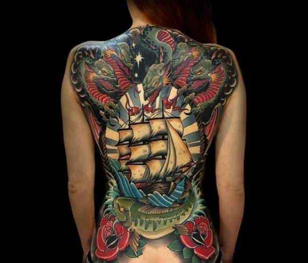 dragon fish ship flowers tattoo title pez pinterest flower tattoos flower and dragon. Black Bedroom Furniture Sets. Home Design Ideas