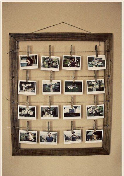 I think we could make these frames pretty easily (painted in your wedding colors, or raw wood) and hang them on the fence at the ceremony site.  We could hang photos of all sizes of you and Ben (and families).  We could then display them in the cocktail area at the reception site.