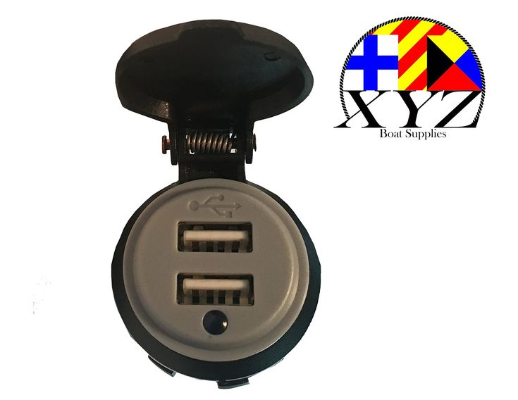XYZ Boat Supplies Waterproof 4.2 Amp Dual USB Charger Socket for Boat/ Car/ RV/ Motorhome/ Motocycle (Grey)