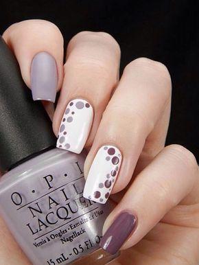diseño uñas en grises