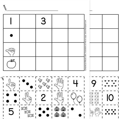 """Fichier PDF téléchargeable En noir et blanc 2 pages L'enfant découpe et colle les représentations des nombres au bon endroit dans le tableau. Ainsi, chaque colonne représente un nombre. IMPORTANT: N'oubliez pas de cocher """"Réduire à la zone d'impression"""" dans la fenêtre d'impression afin d'imprimer les pages entières."""