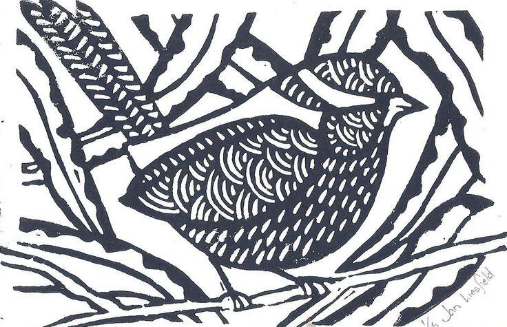 """Jan Liesfield """"Lilydale Lake Wren"""" Lino Print $20"""