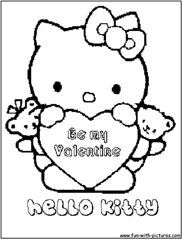 Printable Free Hello Kitty Valentine Coloring Pages For Kids