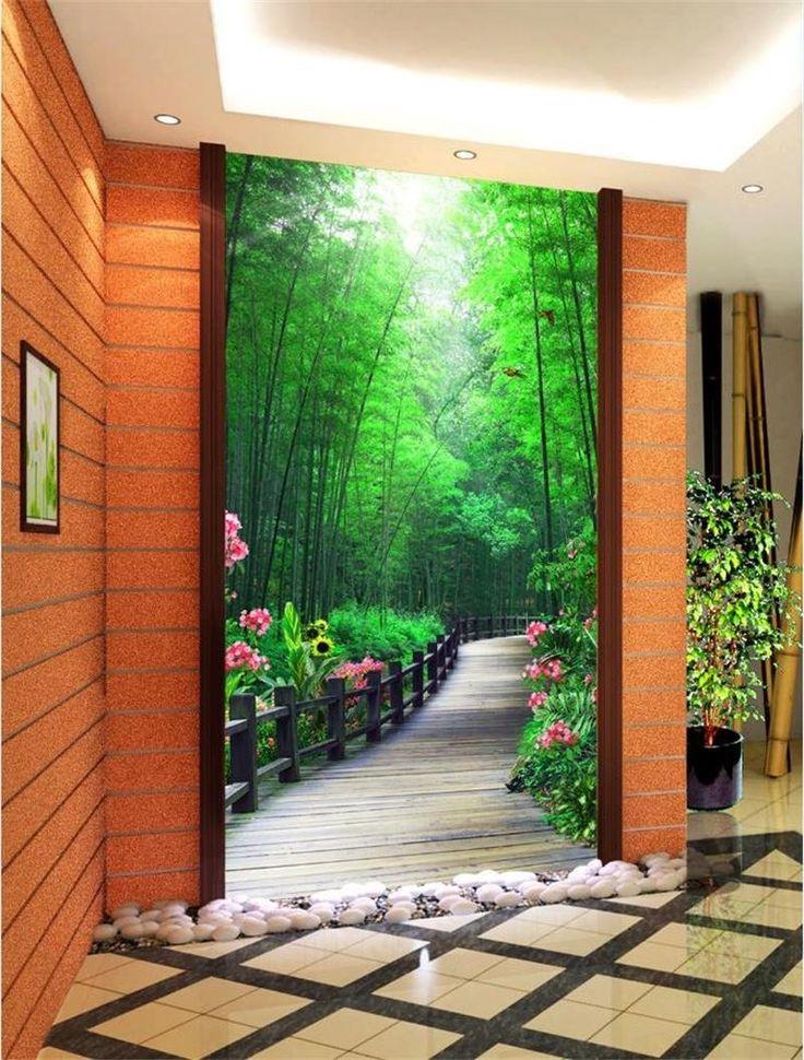 3d зал обои на заказ фотография фреска нетканые стикер Цветок и птица бамбук крыльцо живопись фото обои для стены 3d