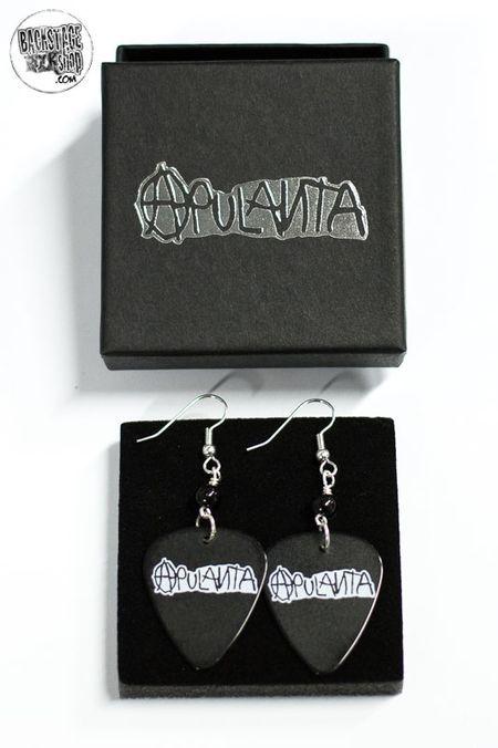 Black plectrum earrings - Apulanta. Designed and made by Jaana Bragge.