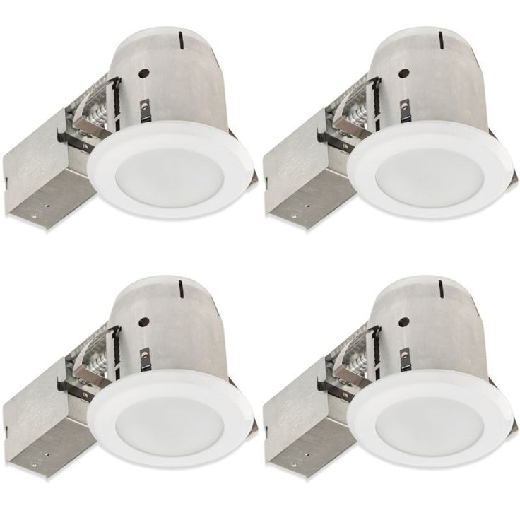 "Globe Electric 90952 4"" Round Recessed Bathroom Ceiling Fixture - Trim and Housi White Recessed Lights Trim and Housing Package NULL"