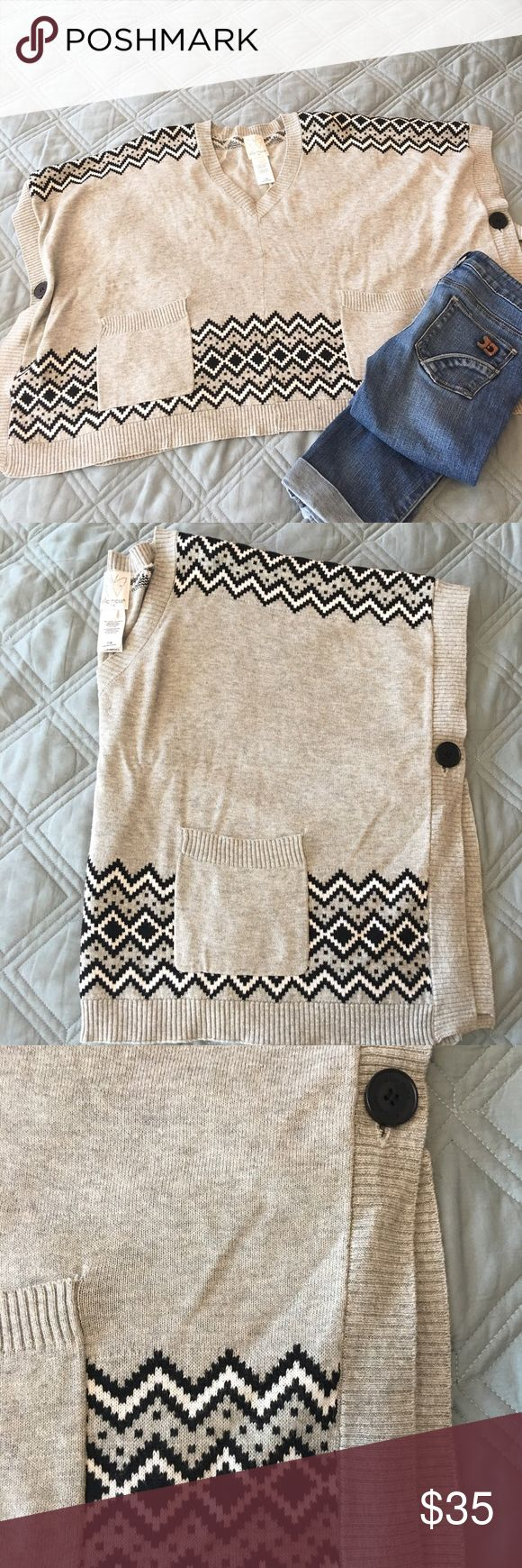 NWOT Ella Moss sweater cape Precious heather gray cape with black & white fair isle detail at bottom. Two button closures on the sides. Two front pockets. V-neck. Viscose/cotton blend. Machine wash cold. Smoke-free pet-friendly home. No trades, holds, or modeling. Ella Moss Jackets & Coats Capes