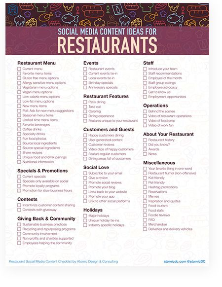 87 SOCIAL MEDIA CONTENT IDEAS FOR RESTAURANTS THAT WILL MAKE YOU HUNGRY FOR MORE  Downloadable content checklist with ideas for restaurant social media.