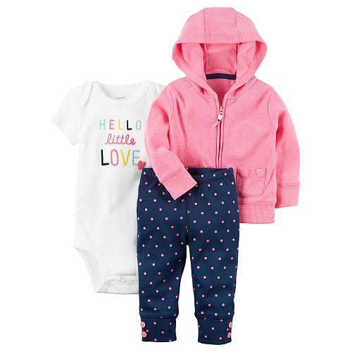 """Carter's 3 Piece Pink Zip Up Hoodie, White Embroidered Bodysuit with Navy Polka Dot Printed Pant Set - Carters - Babies """"R"""" Us"""