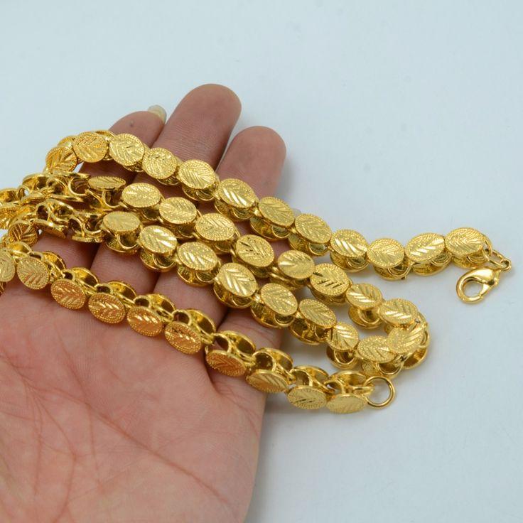 Anniyo Longitud 53 CM/83 CM/200 CM Ancho de 9 MM/6 MM, Collares Gruesos de Etiopía oro Color de África Eritrea Chunky Cadena/Dubai/Árabe #046506