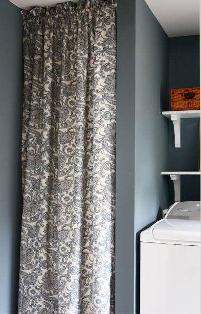 Coat closet: curtain to hide hot water heater                              …                                                                                                                                                                                 More