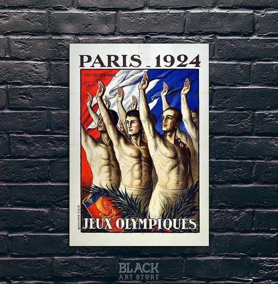 Jeux Olympiques Paris 1924 Paris voyage affiche par BlackArtStore