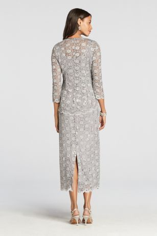 3/4 Sleeve All Over Lace Jacket Dress Style 7458