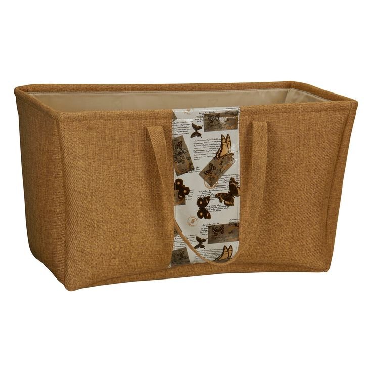 Household Essentials - Rectangle Soft-Side Burlap Tote - Brown