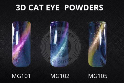 3D Cat Eye is magic color shifting magnetic powder, they're different with regular 3D magnetic powder, it could create chameleon color reflection as eye cat stone, shiny as a mirror. These pigments are fabulous.using the magnet to create amazing cat eye color effect nails!