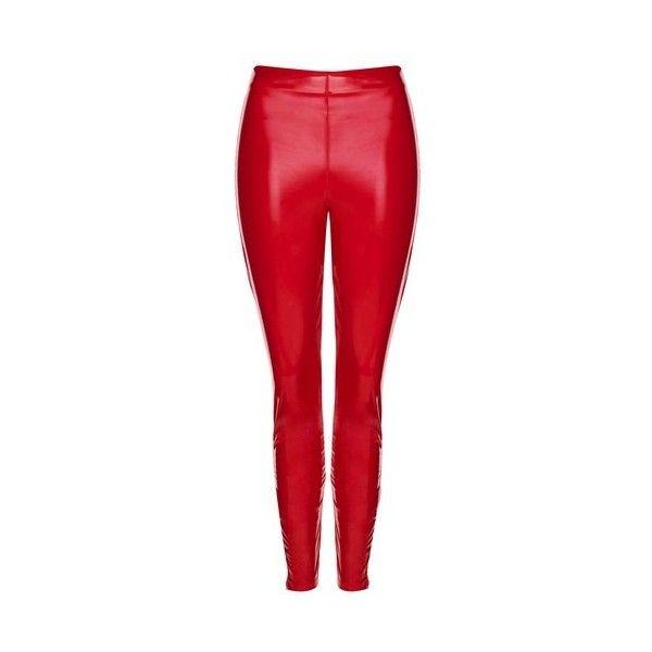 Topshop Vinyl Leggings (2.145 RUB) ❤ liked on Polyvore featuring pants, leggings, red, topshop leggings, wet look leggings, red leggings, shiny leggings and vinyl leggings