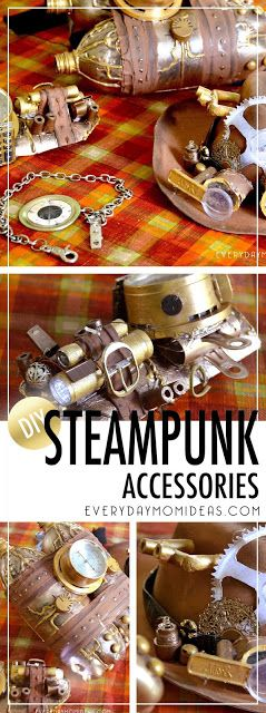 DIY Steam Punk Costume Accessories Under $5 Steampunk Hat, Steampunk Wrist Band Gadget, Steampunk jetpack, And steampunk pocket watch. Get tips and tricks on how to make your steampunk cosplay costume with up cycling things around the house.