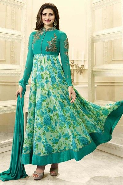 Buy designer green anarkali suits online shopping with lowest prices in india. #thankaronline #anarkali suit #dress #anarkali salwar kameez #designer dress #designer anarkalis #festival #anarkali dress #anarkali suit