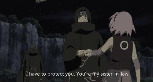 Haha, Itachi Uchiha will protect Sakura, because she's his sister-in-law now. ♥♥♥ Sad that it will never happen :( #RoadToNinja