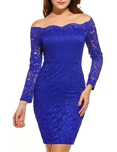 fc84e20f1e1b Women's Off Shoulder Lace Dress Long Sleeve Bodycon Cocktail Party Wedding  Dresses.Material: High quality stretch lace fabric Boat neck twin set  cocktail ...