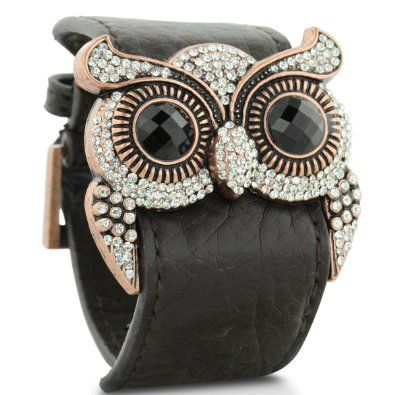 Leather and Crystal Owl CuffCuffs Bracelets, Crystals Owls, Fashion, Owls Cuffs, Jewelry, Swarovski Crystals, Owls Bracelets, Cuff Bracelets, Leather