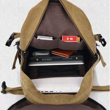 Men Women Letters Print Canvas Backpack Casual School Bag - US$40.45