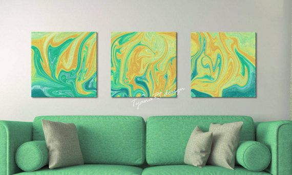 Abstract painting set of 3 Abstract printable Modern by TyanaRt