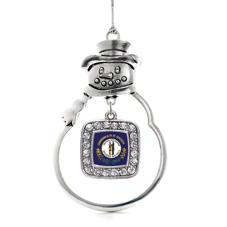 Kentucky Flag Square Charm Holiday Ornament