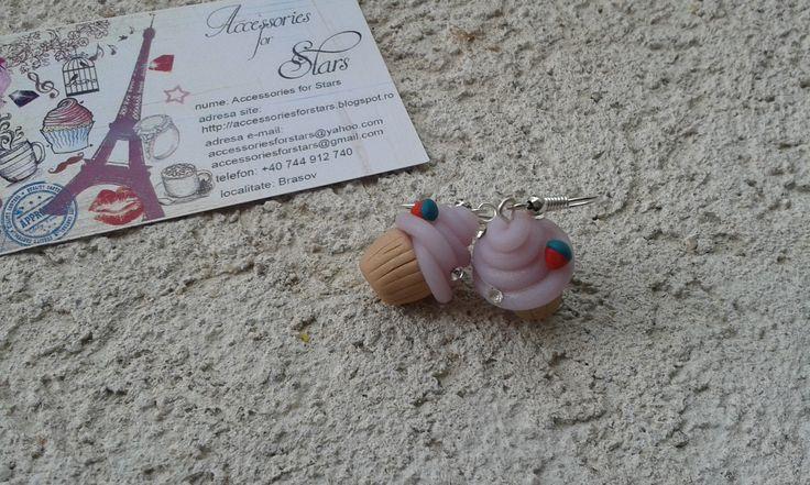 http://accessoriesforstars.blogspot.ro/ #cupcakes #icecream #pink #swarovski #earrings #polymer #pink #softpink #powderpink #accessoriesforstars