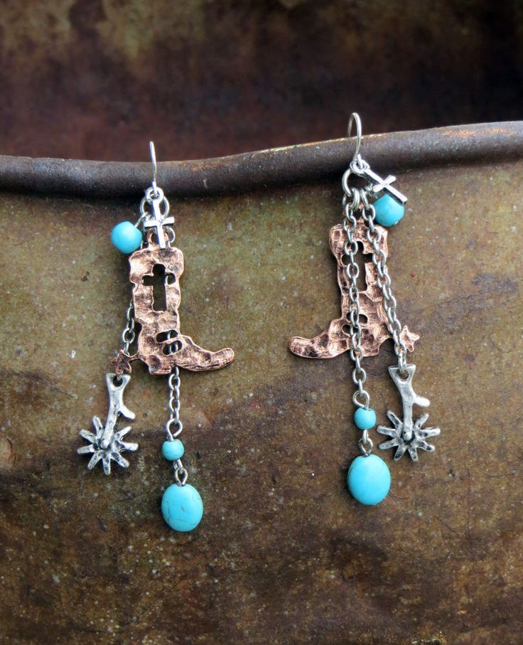 Cowgirl Bling Gypsy BOOTS SPUR Rodeo Western EARRINGS Turquoise COPPER Charms  #crave #earrings