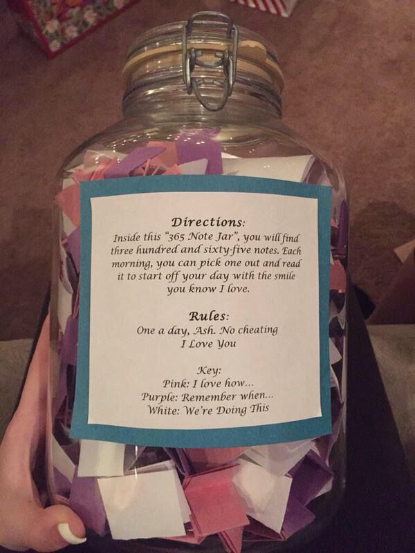 """❤️- Also could be a """"Happiness Jar"""" Include 365 slips of paper, each day write down the happiest moment of your day."""